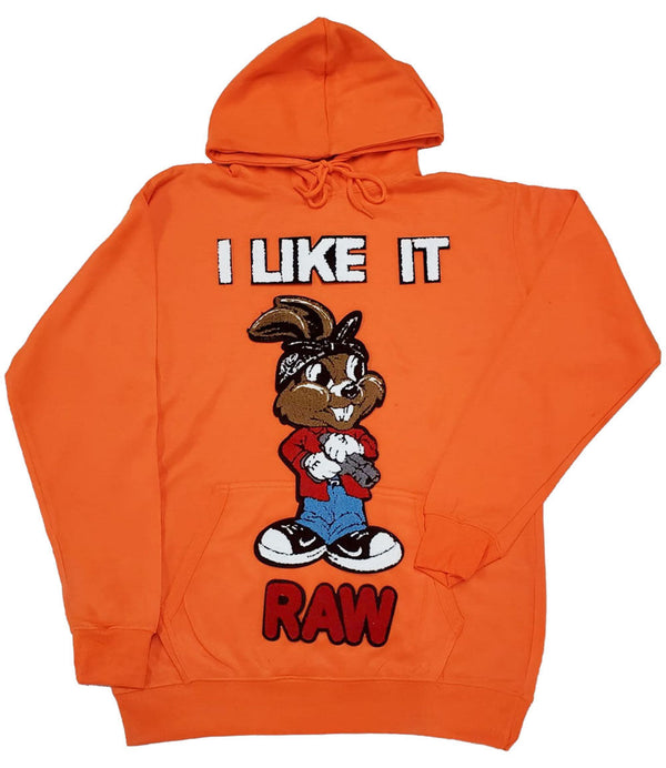 I Like It RAW Chenille Hoodie - Neon Orange