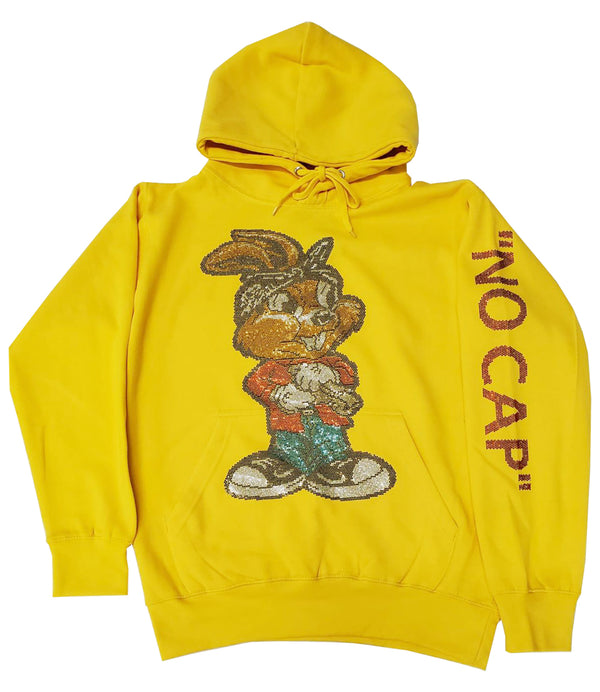 NO CAP Gun Rabbit Bling Hoodie - Gold