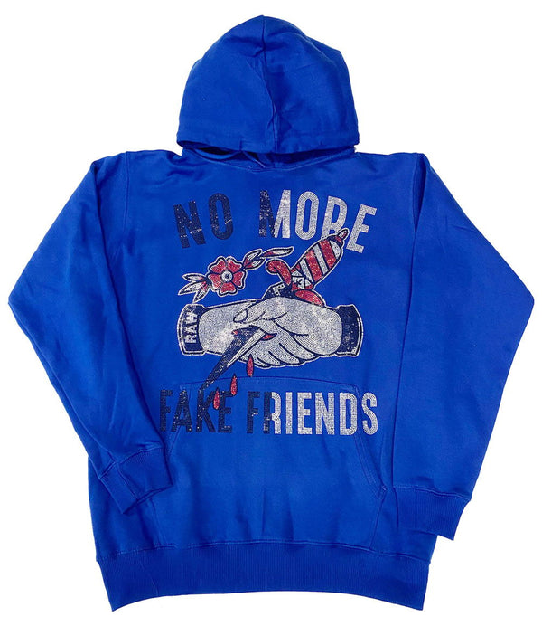 No More Fake Friends Bling Hoodie - Royal