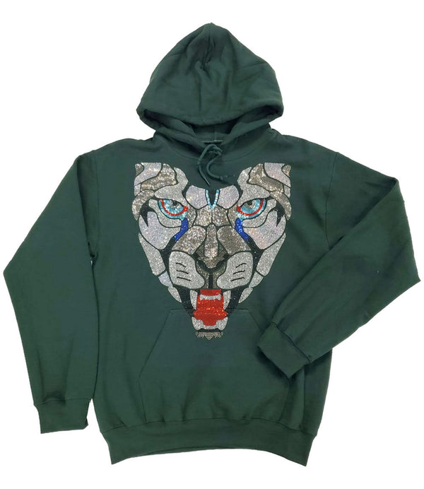Panther Bling Hoodie - Forest Green