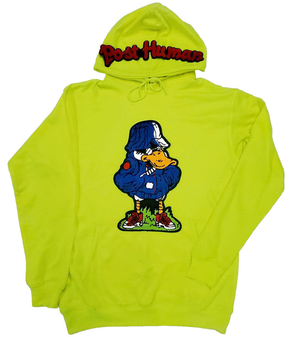 Post Human Duck Chenille Hoodie - Neon Green
