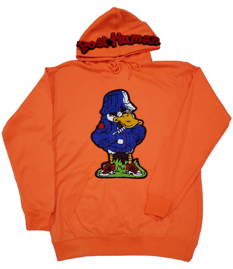 Post Human Duck Chenille Hoodie - Neon Orange