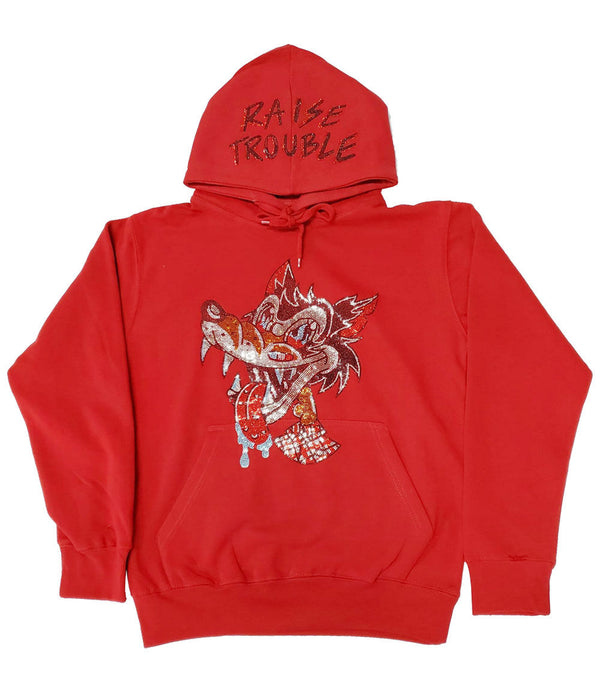 Raise Trouble Wolf Bling Hoodie - Red
