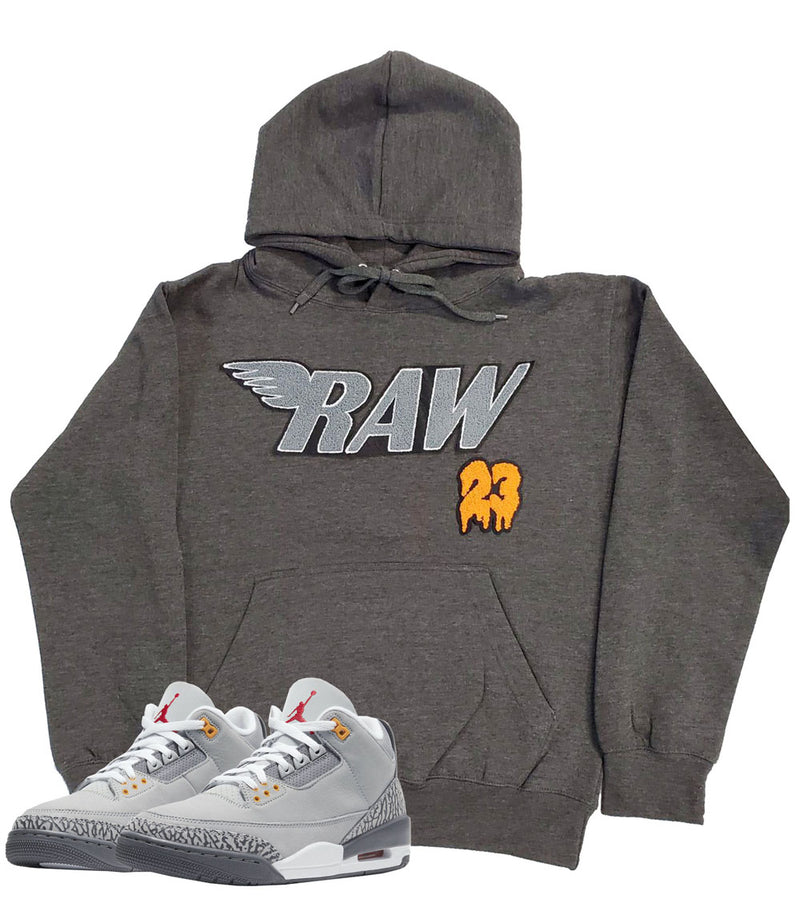 RAW 23 Grey Chenille Hoodie - Dark Heather Grey