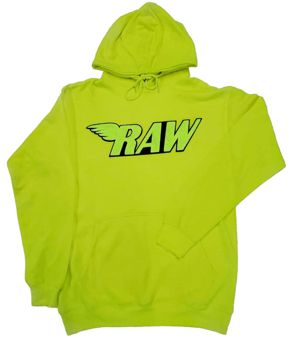 RAW Neon Yellow Chenille Hoodie - Neon Green