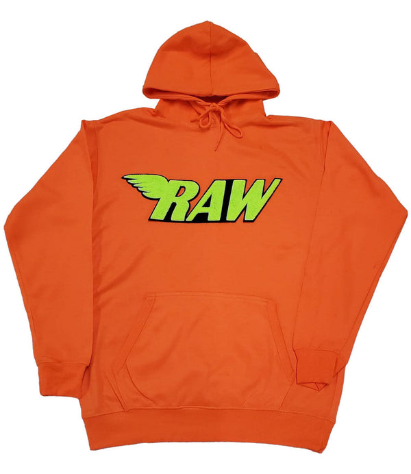 RAW Neon Yellow Chenille Hoodie - Neon Orange