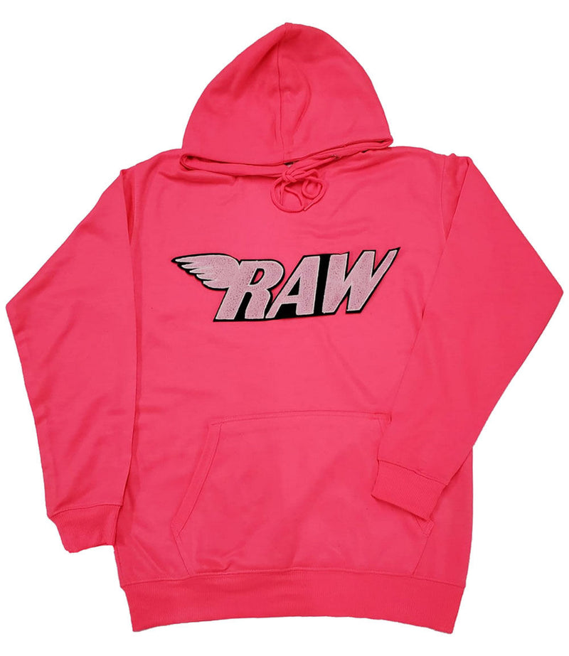 RAW Pink Chenille Hoodie - Neon Pink