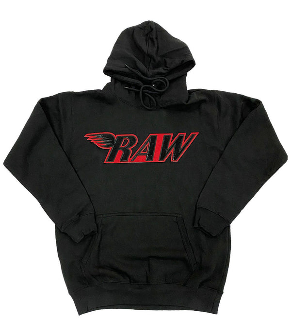 RAW PU Red Hoodie - Black
