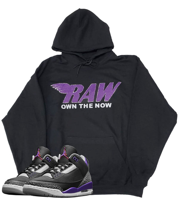 RAW Purple Chenille Hoodie - Black