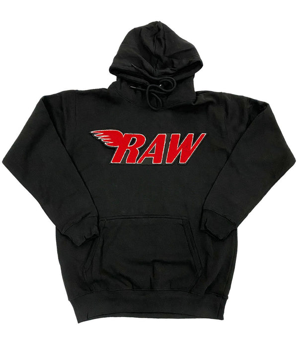 RAW Red Chenille Hoodie - Black