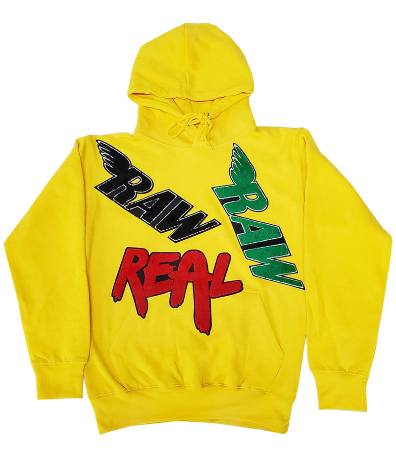 RAW Collage Chenille Hoodie - Yellow