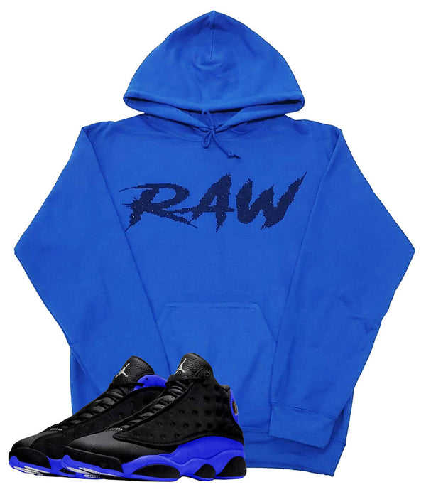 Cursive RAW Black Bling Hoodie - Royal