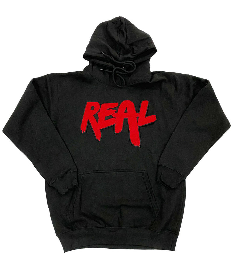 Real Red Chenille Hoodie - Black