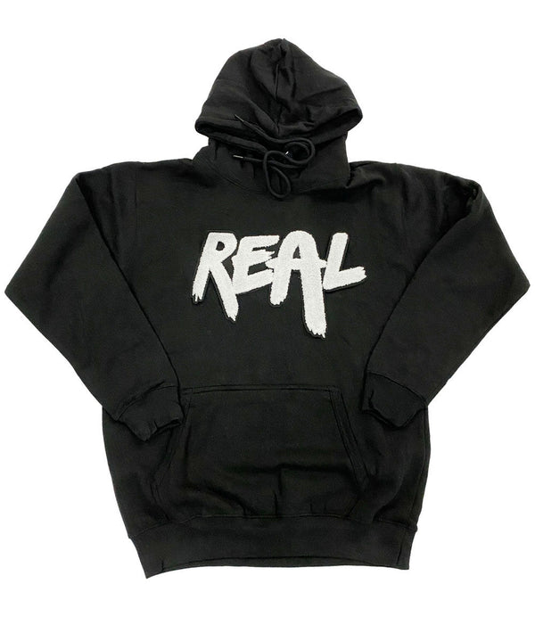 Real White Chenille Hoodie - Black