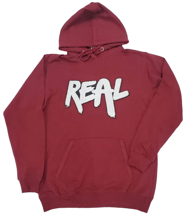 REAL White Chenille Hoodie - Maroon