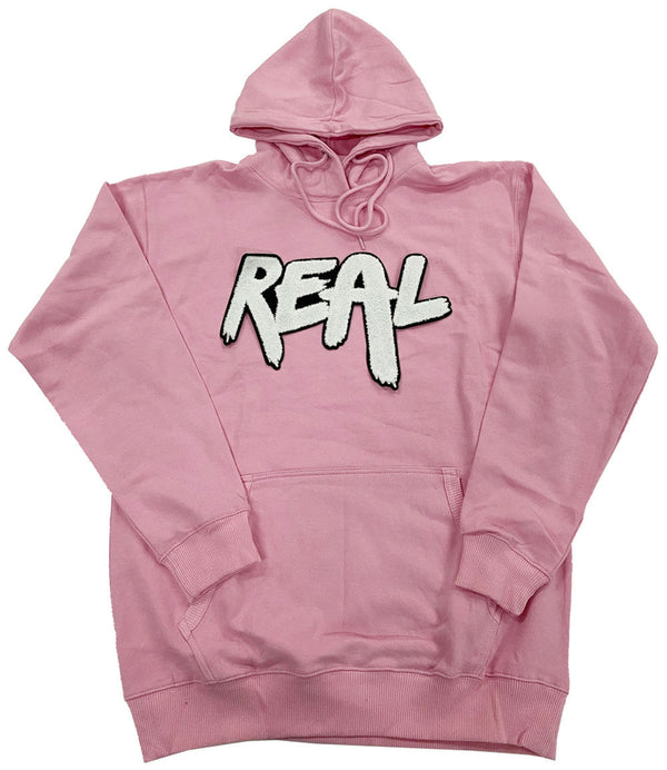 Real White Chenille Hoodie - Pink