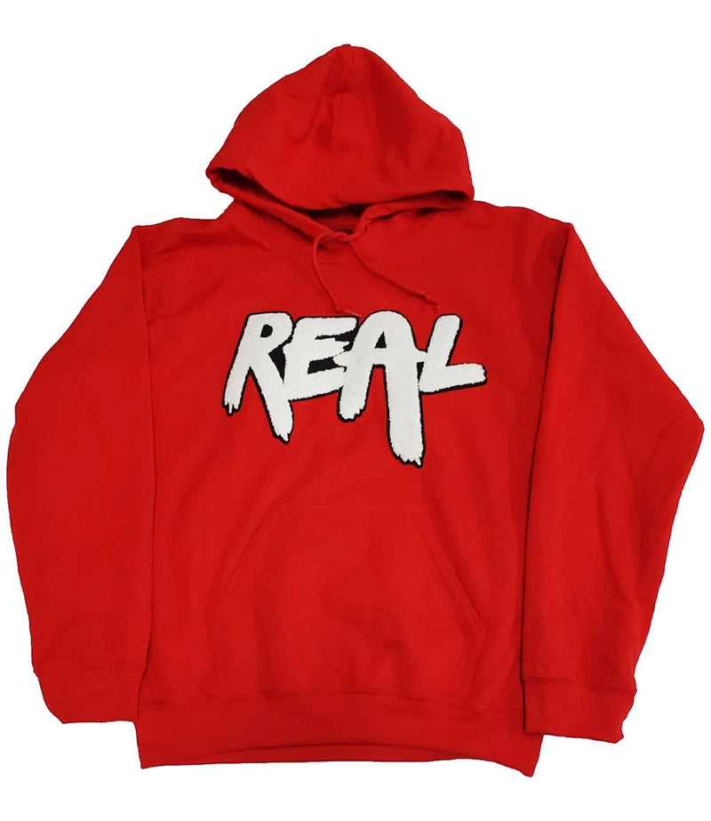 Real White Chenille Hoodie - Red
