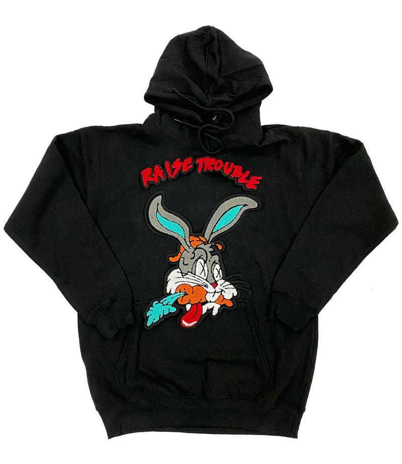 Raise Trouble Bunny Chenille Hoodie - Black