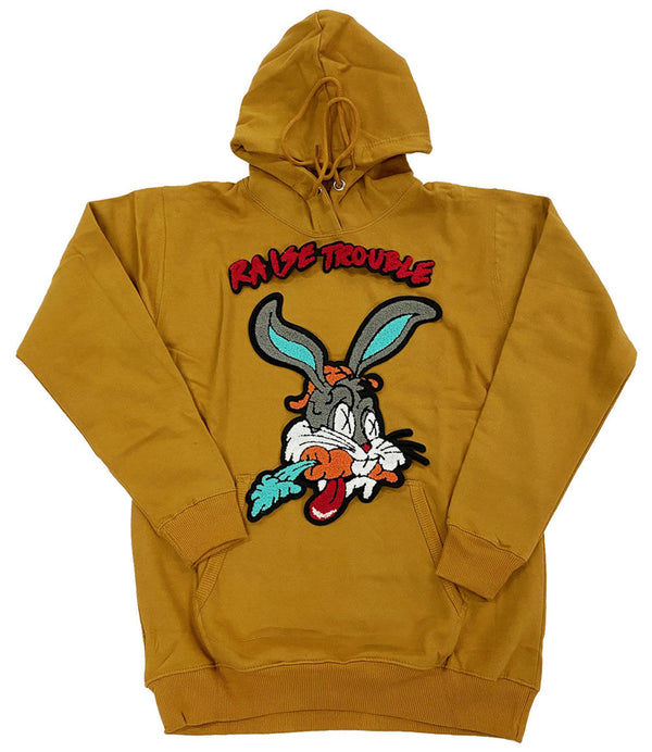 Raise Trouble Bunny Chenille Hoodie - Gold