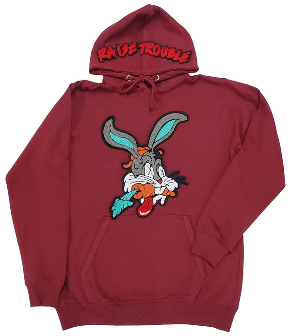 Raise Trouble Bunny Chenille Hoodie - Maroon