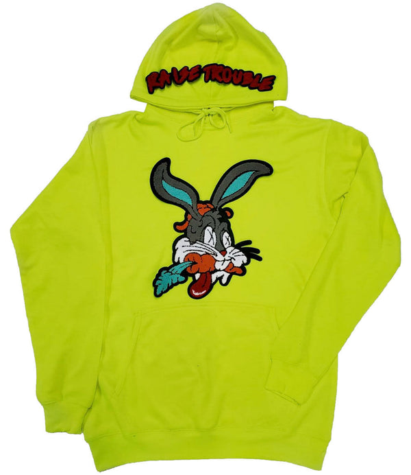 Raise Trouble Bunny Chenille Hoodie - Neon Green