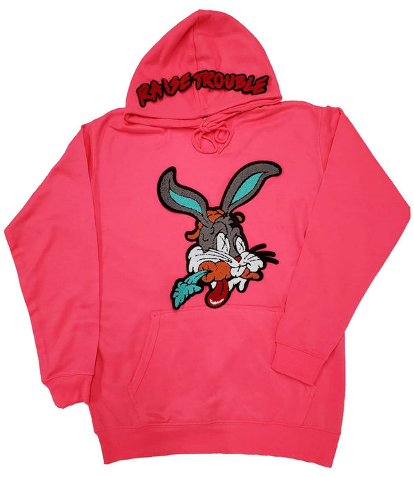 Raise Trouble Bunny Chenille Hoodie - Neon Pink