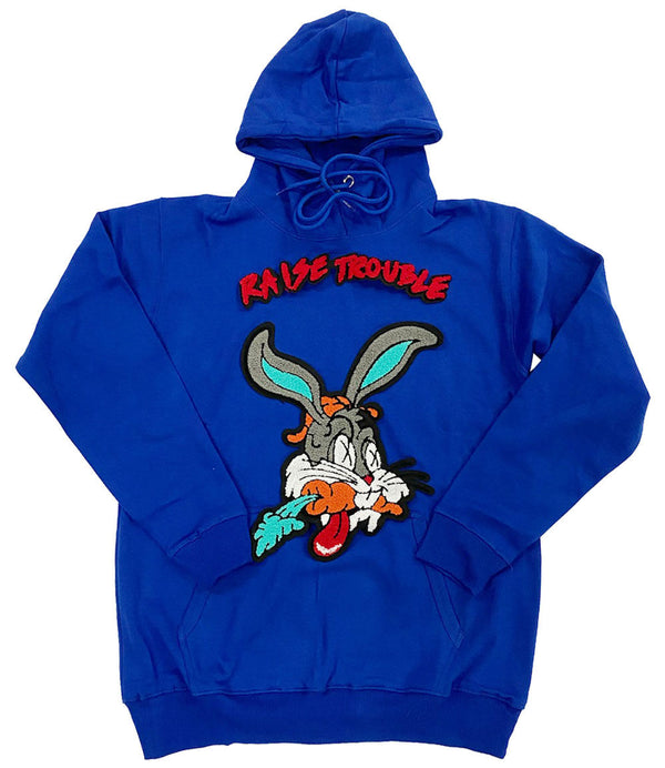 Raise Trouble Bunny Chenille Hoodie - Royal