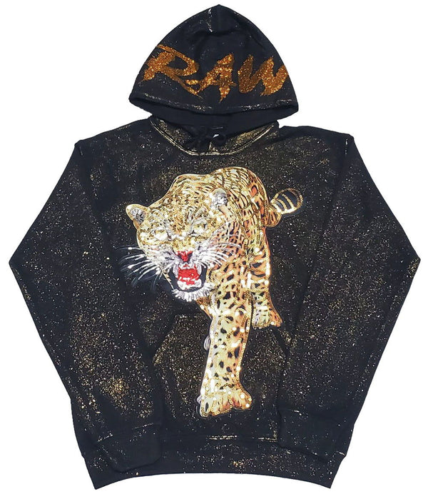 Sorry Foul Tiger Hand Made Sequin Hoodie - Black / Spray Gold