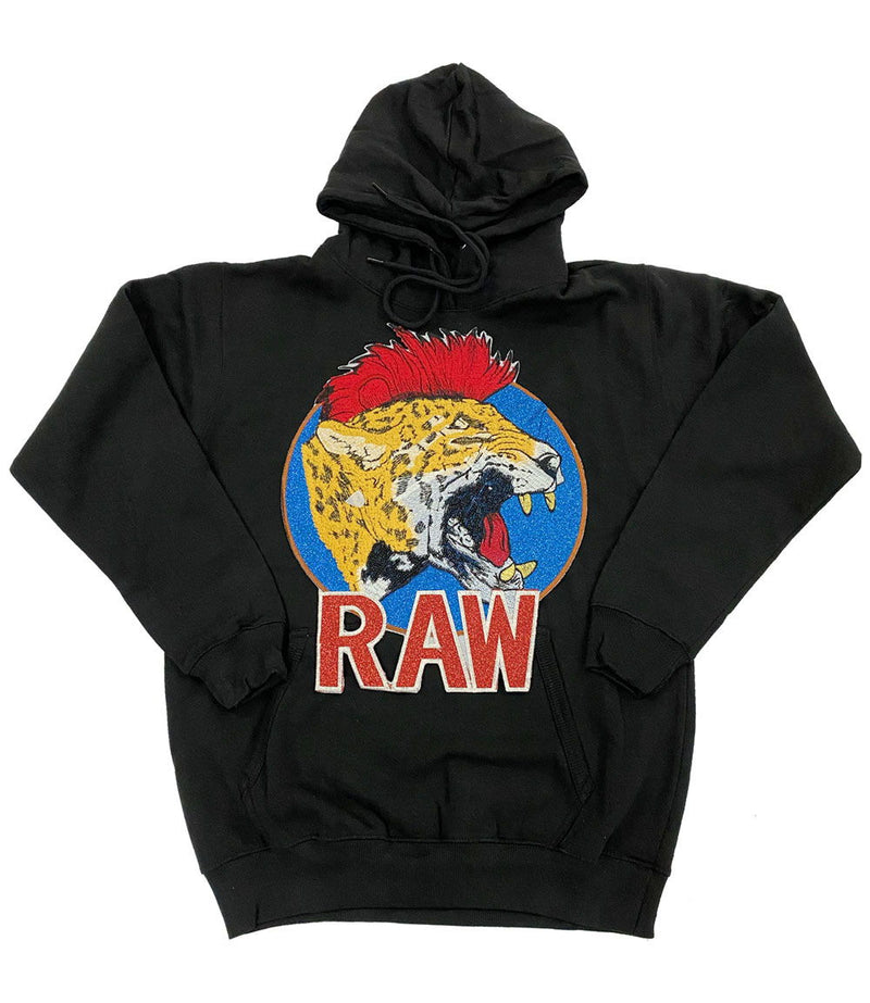 Red Mohawk Tiger Embroidery Patch Hoodie - Black