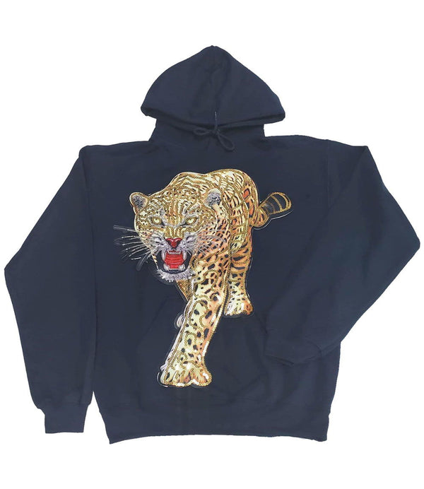 Tiger Hand Made Sequin Hoodie - Navy