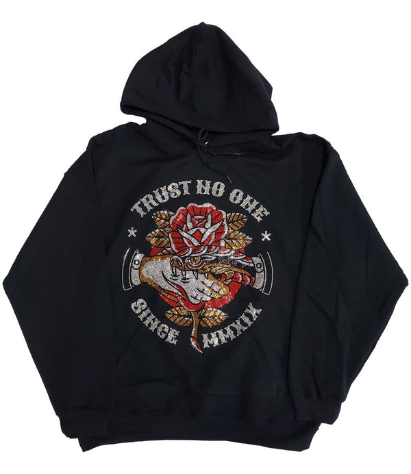 Trust No One Bling Hoodie - Black