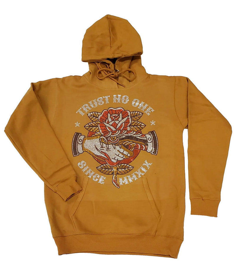 Trust No One Bling Hoodie - Gold