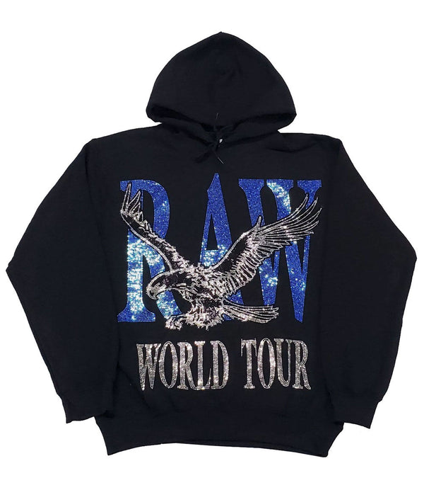 RAW World Tour Blue Bling Hoodie - Black