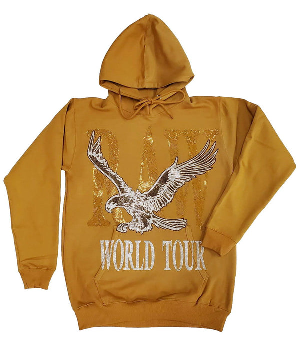 RAW World Tour Gold Bling Hoodie - Gold
