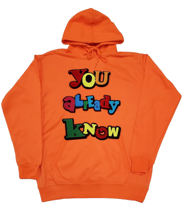 You already know Chenille Hoodie - Neon Orange