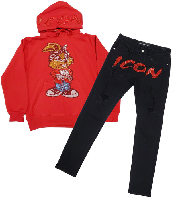 Icon Gun Rabbit Bling Hoodie and Icon Red Bling Denim Jeans Set - Red Hoodie / Black Jeans