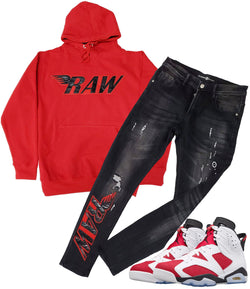 RAW PU Red Hoodie and Denim Jeans Set - Red Hoodie / Black Jeans