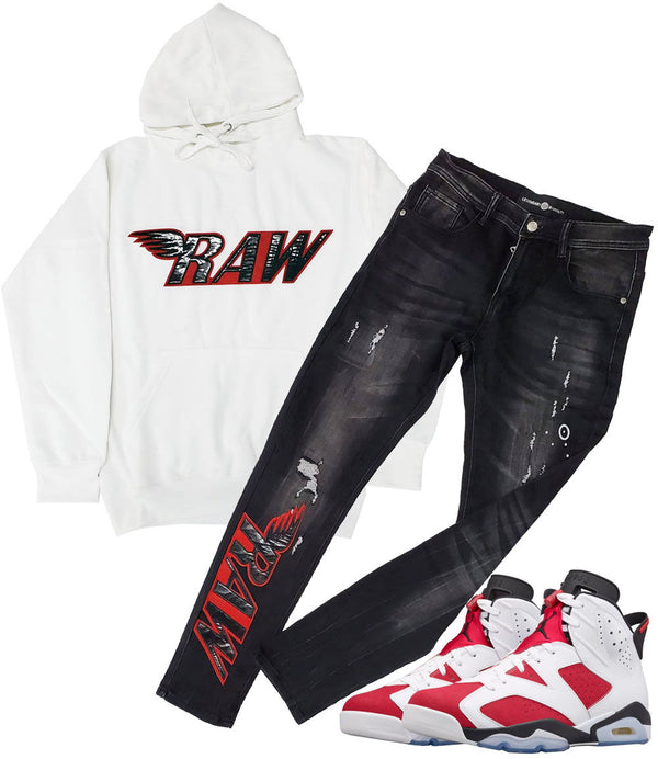 RAW PU Red Hoodie and Denim Jeans Set - White Hoodie / Black Jeans
