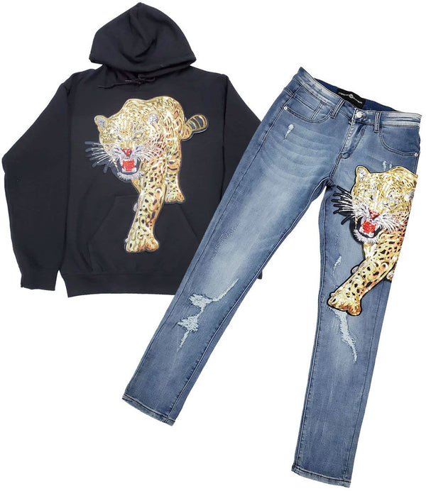 Tiger Hand Made Sequin Hoodie and Denim Jeans Set - Black Hoodie / Blue Jeans