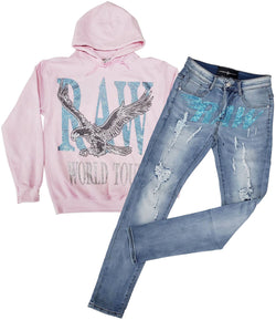 RAW World Tour Aqua Bling Hoodie and RAW Aqua Bling Denim Jeans Set - Pink Hoodie / Blue Jeans