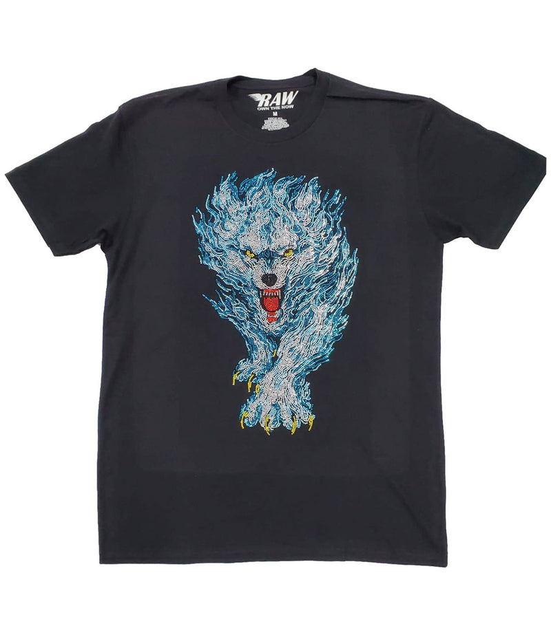 Blue Flame Wolf Bling Crew Neck - Black