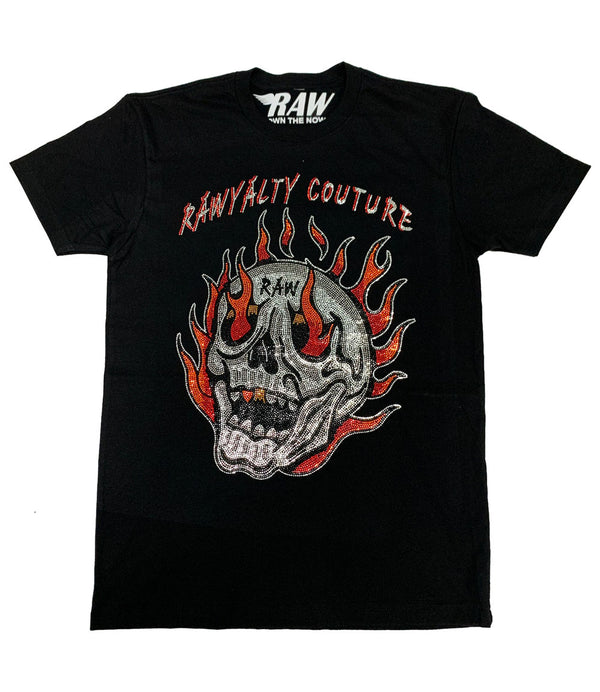 Fire Skull Bling Crew Neck - Black