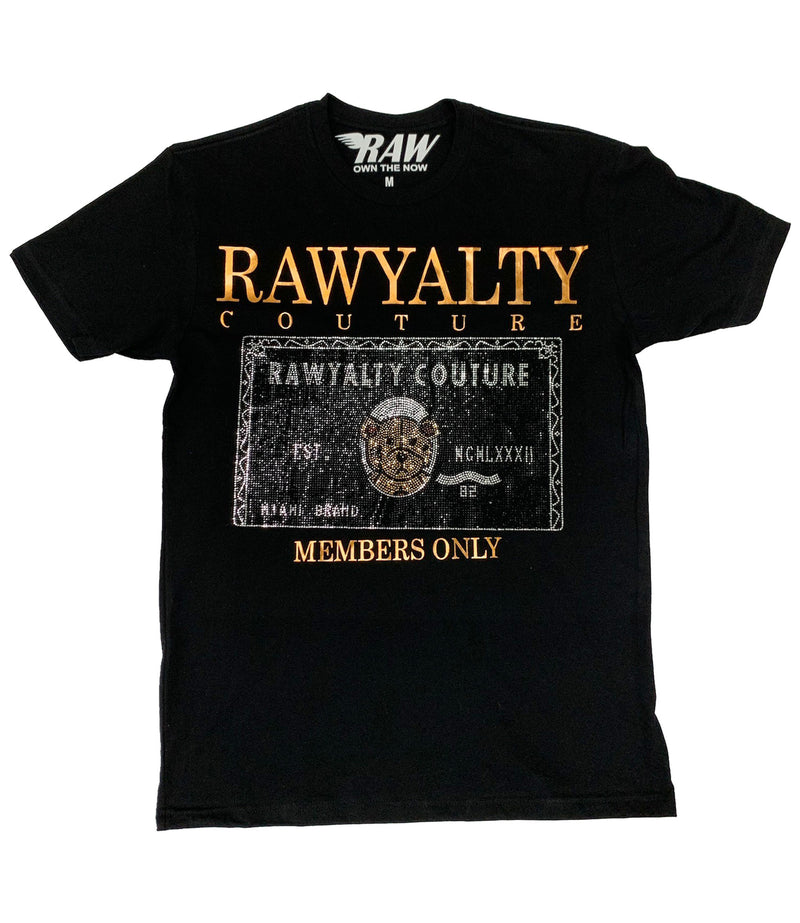 Members Only Full Bling Card Teddy with Copper Crew Neck