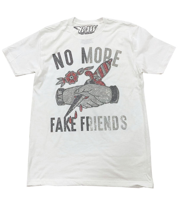 No More Fake Friends Bling Crew Neck - White