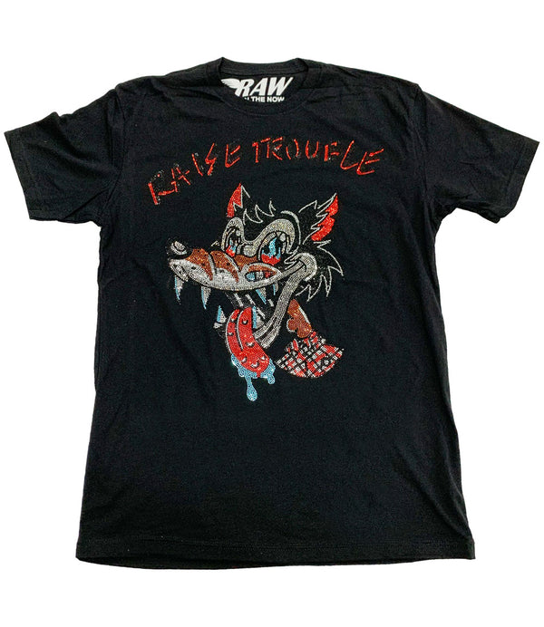 Raise Trouble Wolf Bling Crew Neck