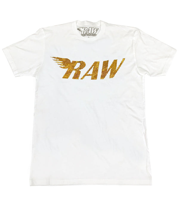 RAW Gold Bling Crew Neck - White