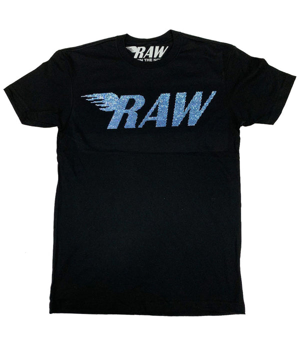 RAW Light Blue Bling Crew Neck - Black