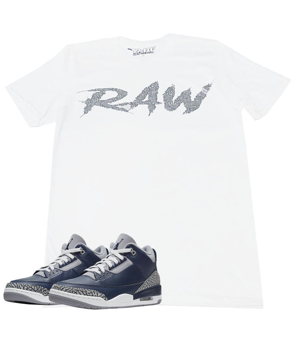 Cursive RAW Clear Bling Crew Neck - White