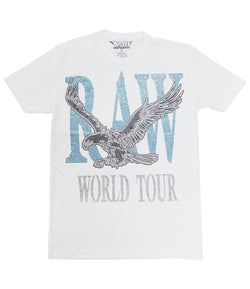RAW World Tour Aqua Bling Crew Neck - White