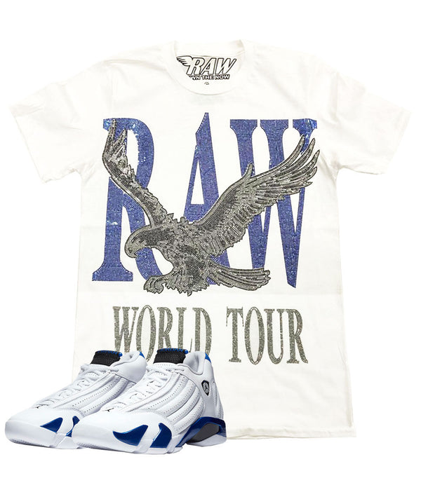 RAW World Tour Blue Bling Crew Neck - White